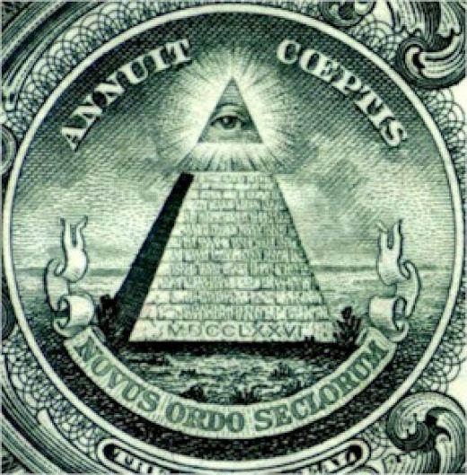 Zoom da nota Americana de 1 dolar.