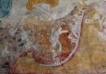 Detalhe de afresco de tecto na Igreja de Lohja. A goela escancarada do inferno está a devorar os pecadores.