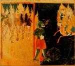 """A imagem do profeta Muhammad a ver mulheres penduradas por ganchos atravessando as suas línguas por um demónio verde. Seus crimes foram a """"ridicularização"""" dos seus maridos e deixar as suas casas sem permissão. Persa, século 15."""